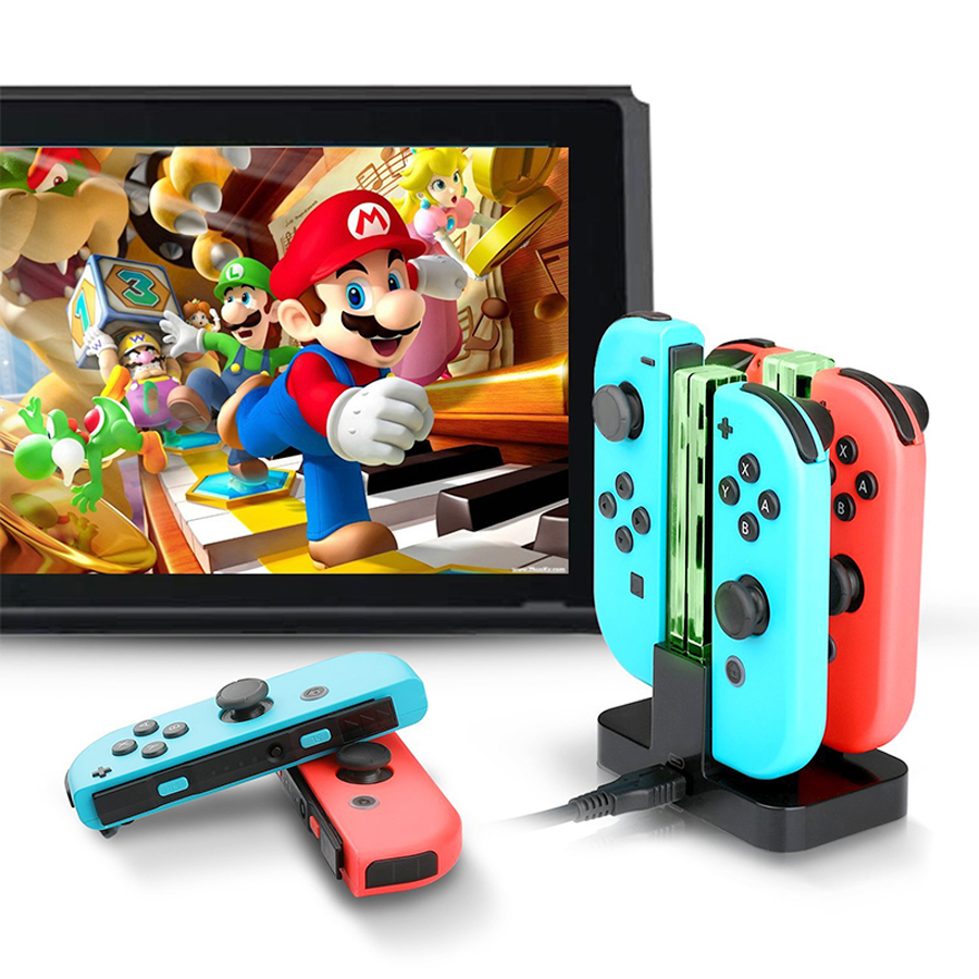 4 In 1 LED Indication Light Charging Dock Station Cradle Charger Stand For Nintend Switch Joy-Con NS Controllers Gamepad 5