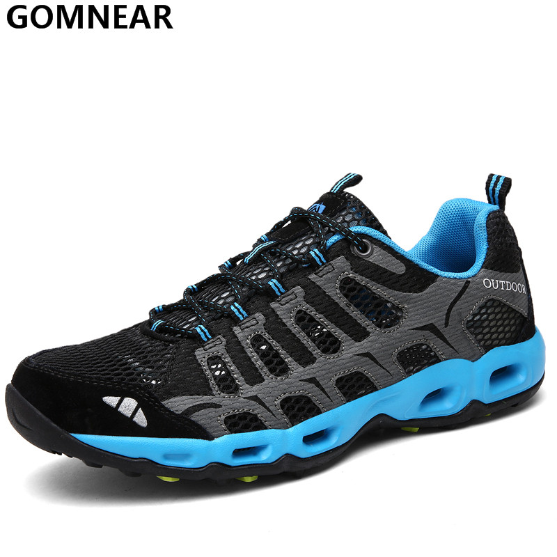 GOMNEAR Spring Men's Breathable Hiking Shoes Outdoor Antiskid Tourism Trekking Athletic Shoes Lightweight Jogging Sport Shoe Men gomnear winter men s hiking boots outdoor climbing toutism hunting athletic boot trend trekking warm velvet sport shoes for male