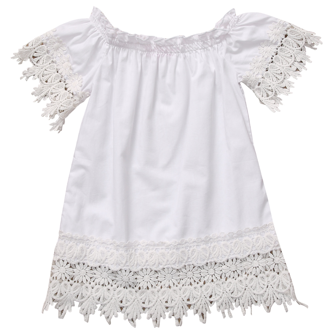 Kids Baby Girls Clothes Dresses Princess Party Lace Top Casual Sundress White Brief Costume Dress Girl New Summer 2016 new kids baby girls white chic fairy lace floral party solid gown fancy dresses baby summer casual dress clothes