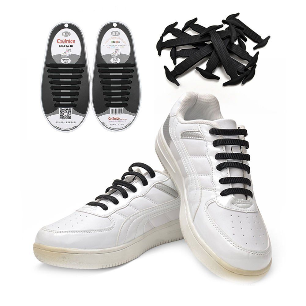 Novelty No Tie Shoelaces Elastic Running Shoe Laces Silicone Shoelaces For Sneakers Fit Strap Shoe Lace Unisex Adult 16Pcs/pair 16 pcs lot shoelaces novelty no tie shoelaces unisex elastic silicone shoe laces for men women all sneakers fit strap n001