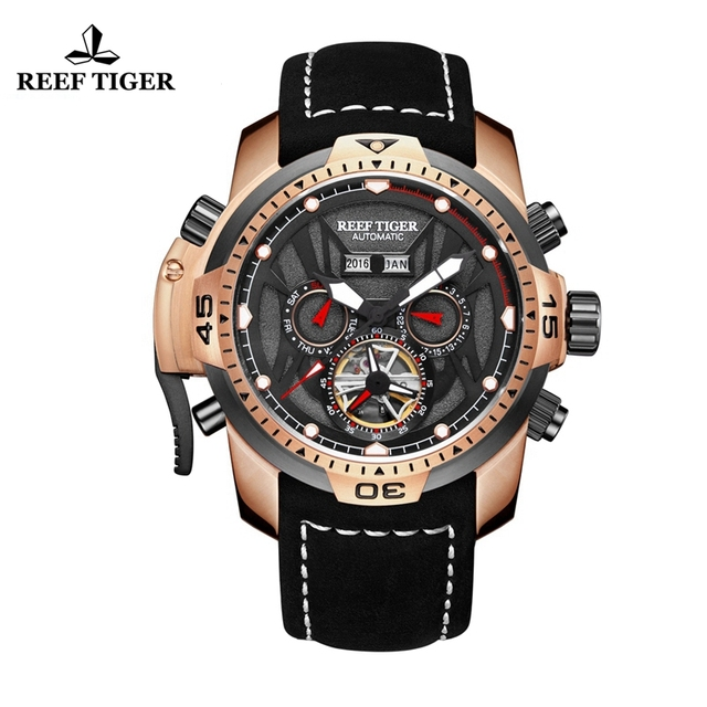 Reef Tiger/RT Mens Sport Watches Genuine Black Leather Strap Complicated Dial Rose Gold Automatic Watches RGA3532
