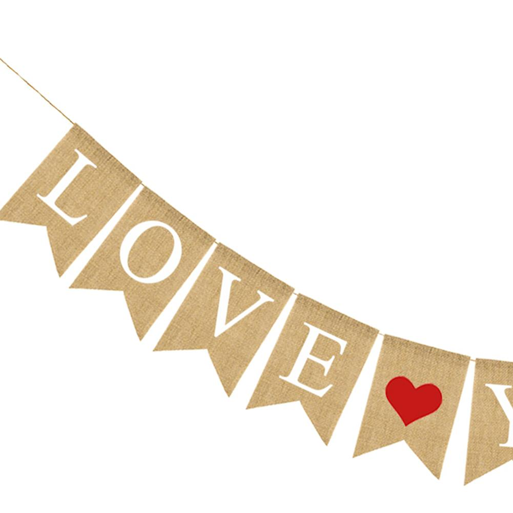 Happy Mothers Day Burlap Banner Love You Mom Red Heart Bunting Hanging Wall Decoration For Birthday Party Decor In Banners Streamers Confetti