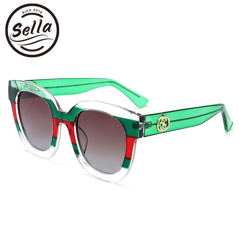 Sella alta calidad moda hit color transparente Stipe Marcos polarizadas Gafas de sol populares del diseñador de la marca mujeres cateye Sol vidrio