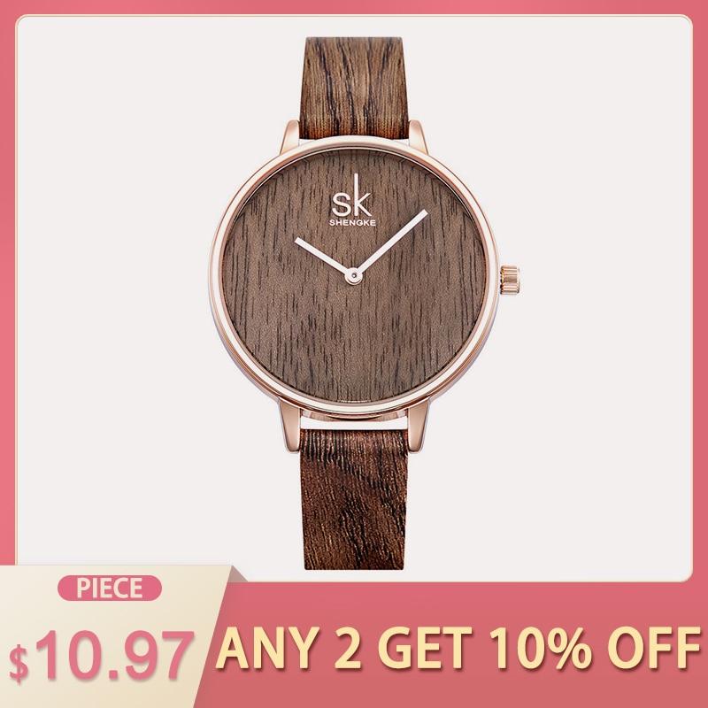 Shengke 2018 New Creative Women Watches Casual Fashion Wood Leather Watch Simple Female Quartz font b