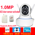 X8100 1.0MP motion detection wifi camera 720P 433mhz door sensor activated IP camera baby monitor 163eye 2CU yoosee app camera