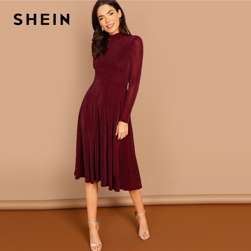 534d12f393 SHEIN Burgundy Going Out Mock Neck Stand Collar Long Sleeve Glitter Fit &  Flare A Line