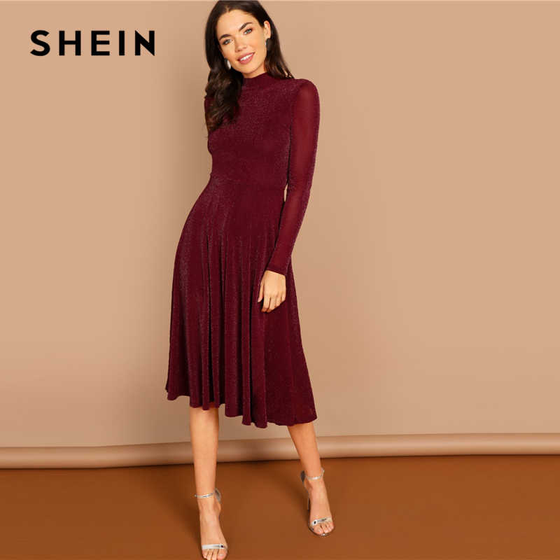 SHEIN Burgundy Going Out Mock Neck Stand Collar Long Sleeve Glitter Fit    Flare A Line 1938c61809e0