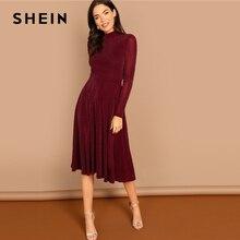 فستان نسائي طويل بأكمام طويلة ياقة منتصبة ورقبة وهمية لون عنابي من SHEIN