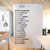 In Our Classroom Wall Stickers Text Quote Vinyl Stickers Removable Home Decor Poetry Wall Decals