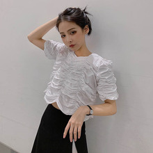 Vintage Pleated Elegant women t shirt short sleeve o neck vogue clothes 2019 summer korean 90s sexy cotton dames luxury brand