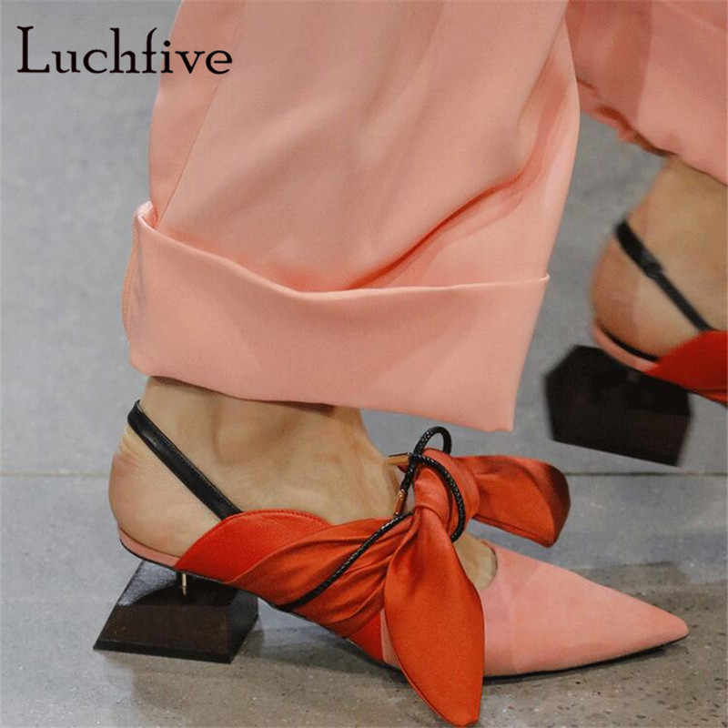 2f32adcab Square wood heels women pumps genuine leather big bowtie slingbacks shoes  women sexy pointy toe lace