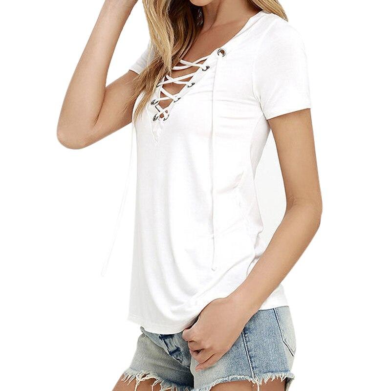 HTB1kTiEQpXXXXbsXFXXq6xXFXXXg - T-Shirts Female Short Sleeve Deep V Neck Shirt Tops Women