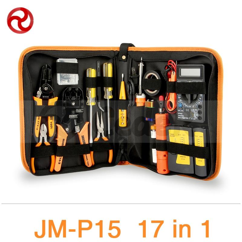 JAKEMY 17 in 1 RJ11 RJ12 Cable Tester Network Tool Kit Soldering Iron Network LAN Crimper Pliers Screwdriver Repair Set JM-P15 jakemy professional repair kit tool bag 54 in 1 aluminum alloy screwdriver set electrician tool organizer storage bag tc p13 bk