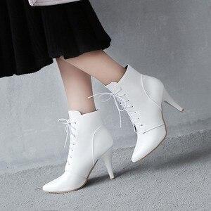 Image 4 - Простые облегающие ботинки большого размера 11 12 13 14 15 европейцев и американцев на высоком каблуке с острым носком и шнуровкой спереди