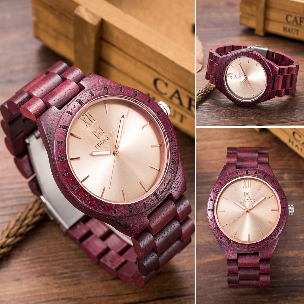 New Arrive UWOOD ZS-W1001B Luxury Brand Fashion Wood Watch men Analog Quartz Movement Male Wristwatches Relogio Feminino Relojes wood watch luxury brand wood watch women analog natural quartz movement diamond small size wristwatches clock relogio masculino