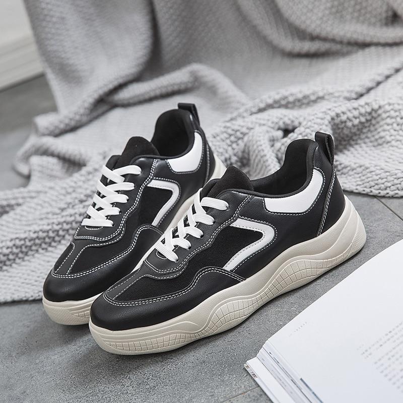 d5a9d6864c3dee 2019 Nouveau Confortable blanc Plat Chaussures Couleur Casual Chaussures  Unie Printemps Beige noir Simple Femmes Tendance Mode r5frnCq