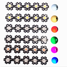 50pcs 1W 3W High Power LED Full Spectrum White Warm white Green Blue Deep Red 660nm Royal blue UV IR With 20mm Black Star PCB 50pcs 1w 3w high power warm white cool white natural white red green blue royal blue 660 uv ir850 940 led with 20mm star pcb