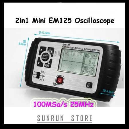 2 in1 Multifunction Oscilloscope 25MHz Multimeter Digital Handheld Scopemeter Voltmeter Ohmmeter Capacitance EM125 цена