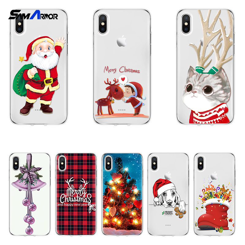 Merry Christmas Xmas Cat Dog Mobile Soft TPU Silicone Clear Back Cover for iPhone X 4 5 5S SE 5C 6 6S 7 8 Plus 7plus 8plus Case