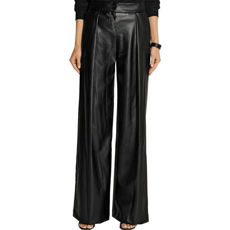WBCTW Leather Pants Women Casual Wide Leg Women Pants Pleated Ladies Loose Trousers Plus Size Custom Slacks Pantalon Femme