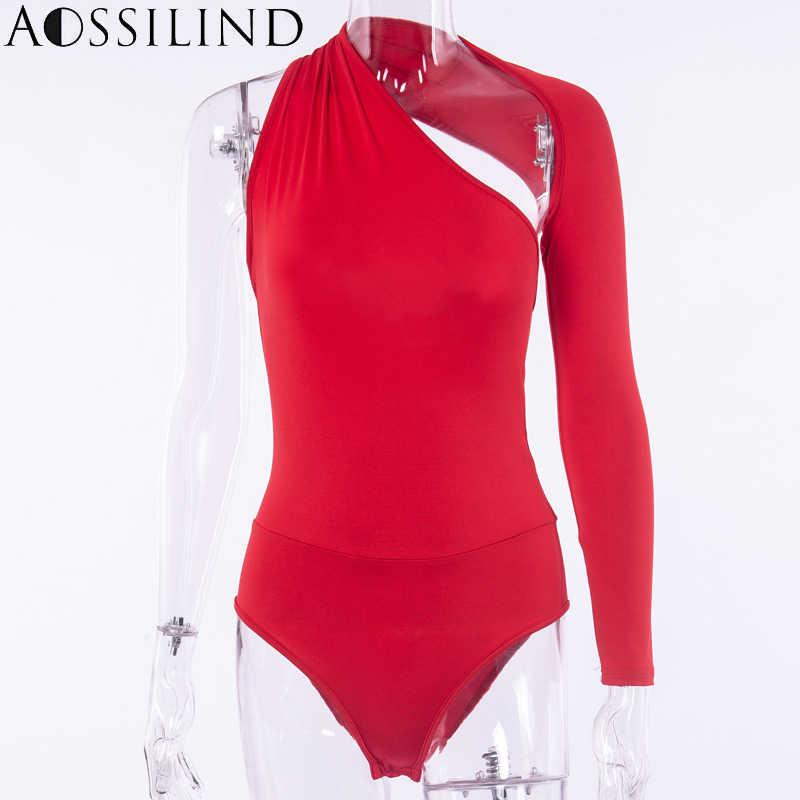 AOSSILIND Sexy un hombro espalda descubierta Skinny Bodysuits mujer otoño manga larga ahueca hacia fuera mamelucos señoras elástico Bodysuit