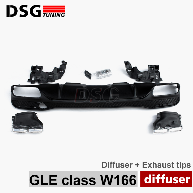 GLE63 Style Rear Diffuser With 304 Stainless Steel Exhaust Tips Endpipe For Mercedes GLE Class X166 2015 - present