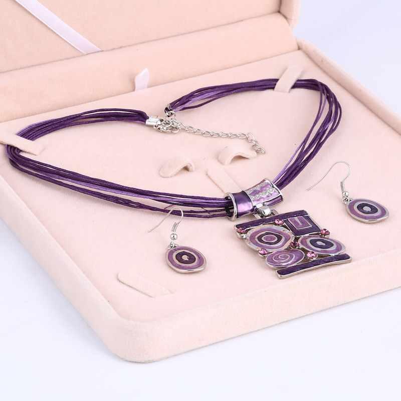 Hesiod 4 kolor Vintage kwadratowy wisiorek kryształ lina wielowarstwowa naszyjnik kobiety kolczyki damska biżuteria zestaw akcesoria ślubne