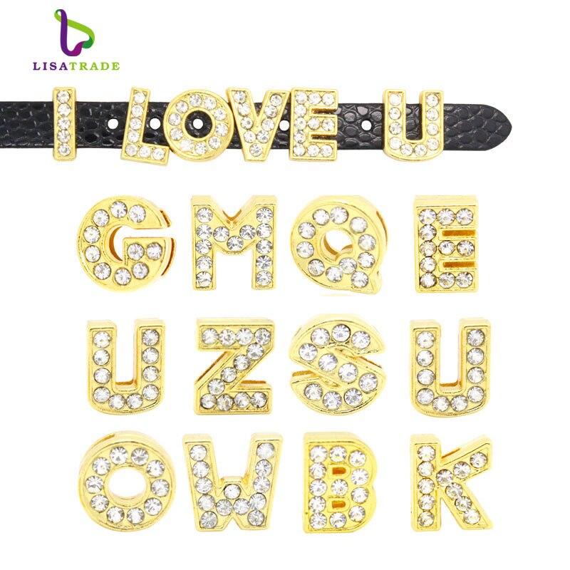 """26 Mixte Couleur Alliage Full Strass Lettre /""""A-Z/"""" Slide Charm Fit 8 mm Bracelets"""
