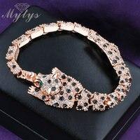 Hot Leopard Animal Crystal Link Bracelet 18K Gold Plated Jewelry For Women B308 313 501