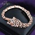Mytys Hot Leopard Animal Crystal Link Bracelet GP jewelry for Women B308 B313 B501
