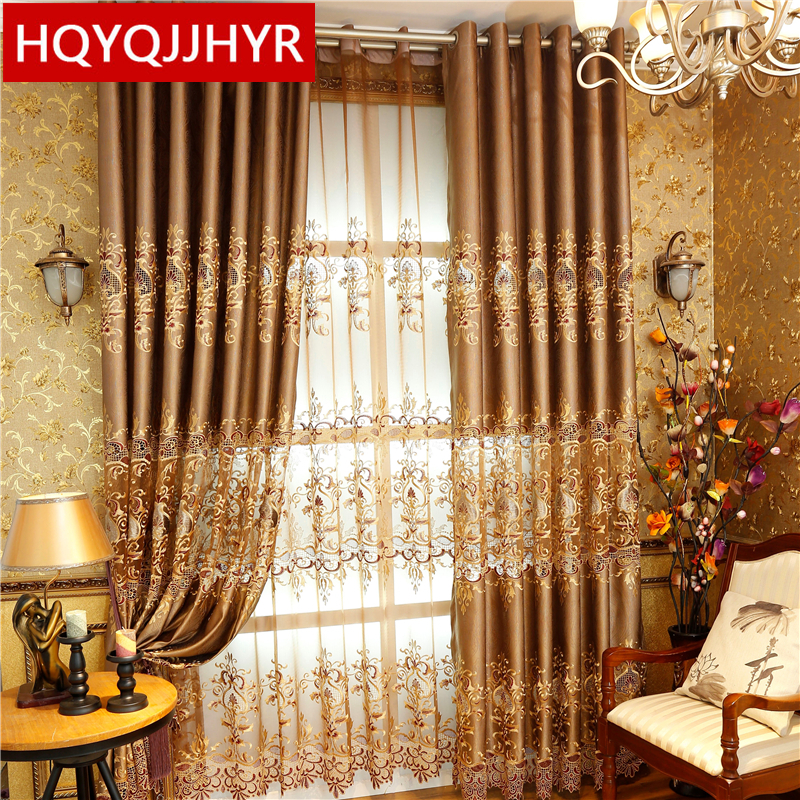 2019 New European luxury chenille embroidery shade Living room Floor Curtains luxury villa decoration luxury Bedroom Curtains