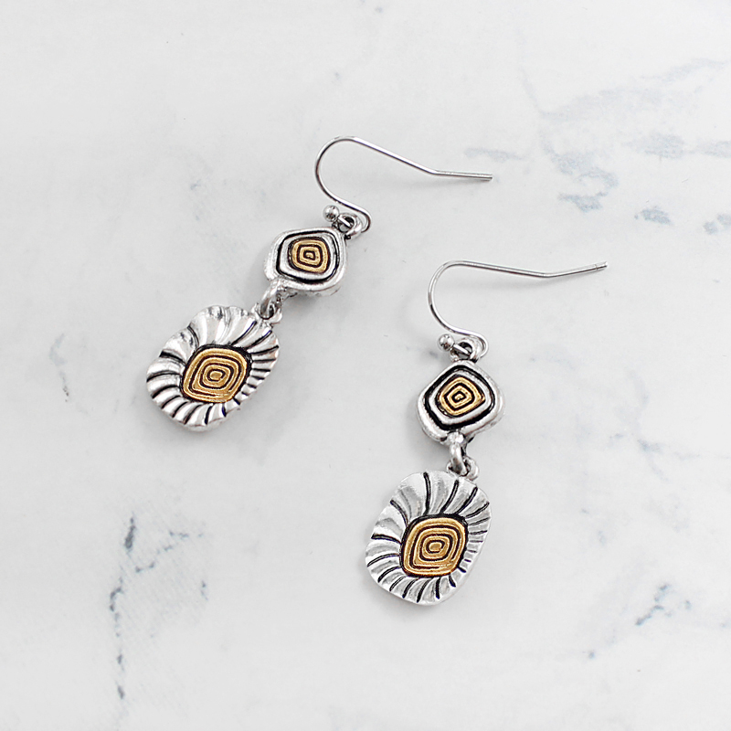 irregular shape Spiral circle Gold and silver stitching earrings Carving pattern Vintage ethnic personality pendant earrings
