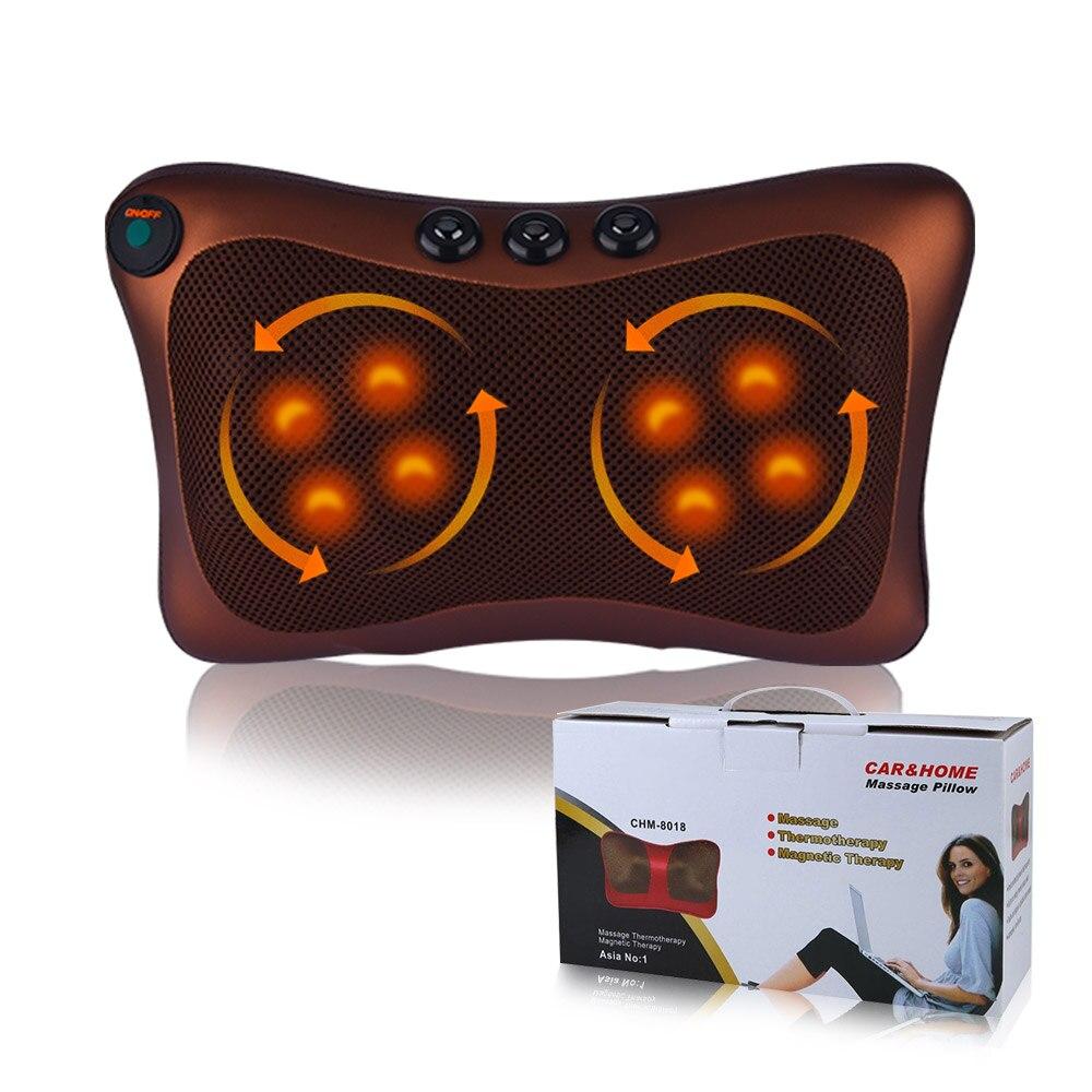 Neck Massage Device Back Shoulder Heat Shiatsu Roller Kneading Heating Massager Pillow for Home Car Use (EU Plug)