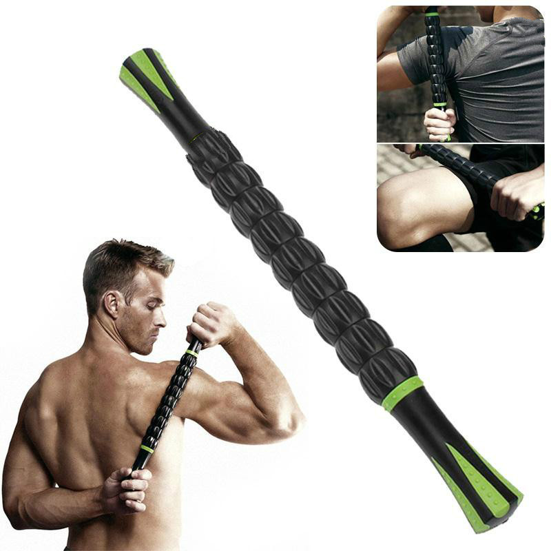 New Useful Point Full Body Muscle Rear Shoulder Roller 18inches Massage Stick For Relief Black Relaxion Accessories massager ergonomic design body self back hook massage stick muscle deep pressure original point body relaxation hot new