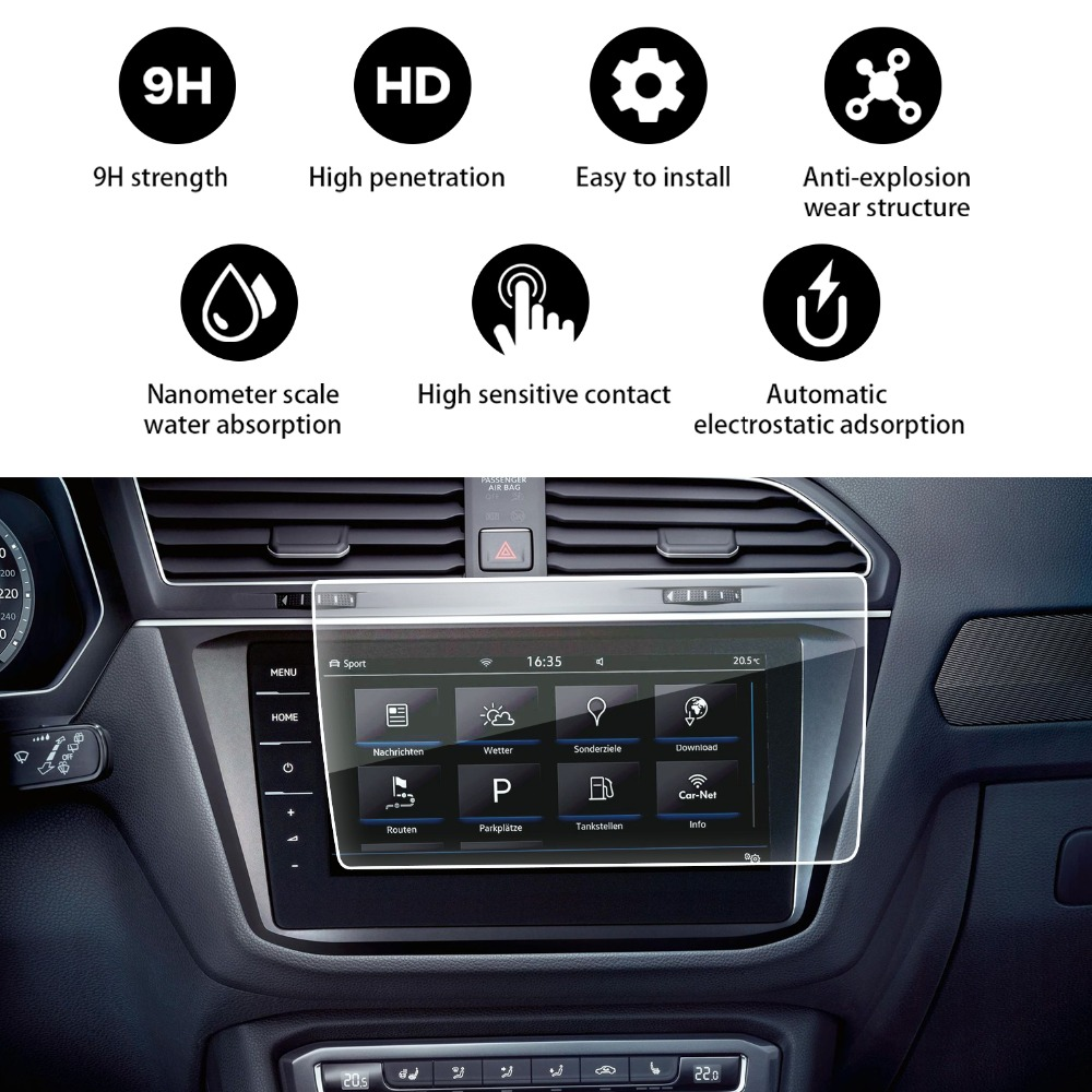 RUIYA 2018 Volkswagen Tiguan / VW Tiguan II GTE Allspace Discover Pro 9.2-Inch 9H Hardened Tempered Glass Protector