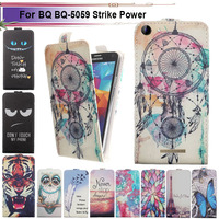 Fashion 11 Colors Cartoon Pattern Up and Down Flip PU Leather Case For BQ BQ-5059 Strike Power