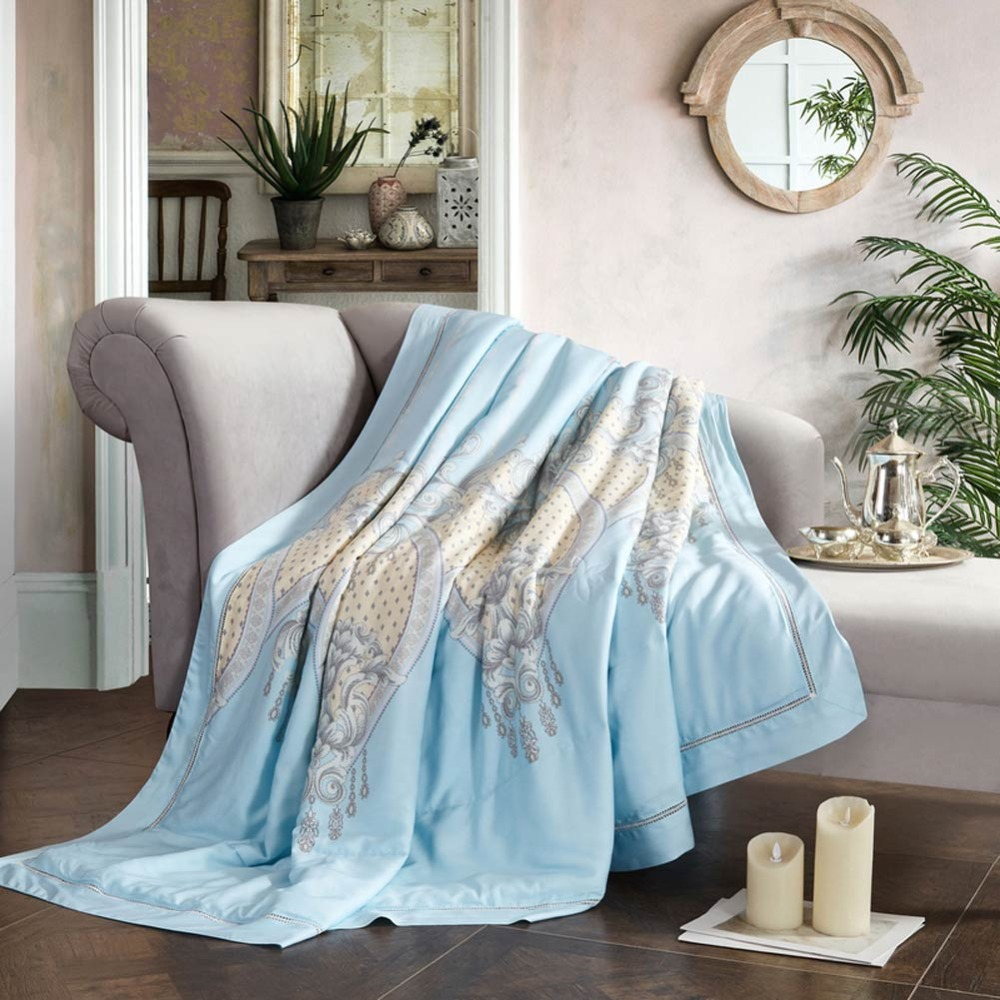 2019 Blue Baroque Style Quilting Quilt Soft Stitching Modal Artificial Silk Polyester Filler Queen King Summer Comforter2019 Blue Baroque Style Quilting Quilt Soft Stitching Modal Artificial Silk Polyester Filler Queen King Summer Comforter