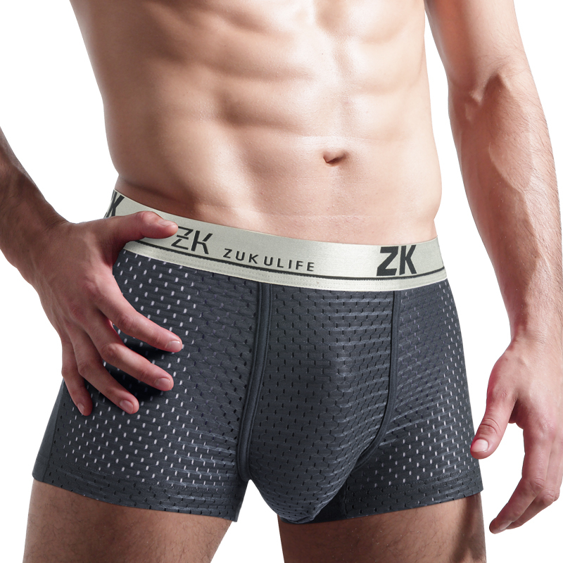 Soft Breathable Men's Sexy summer mesh ice silk Underwear Boxer Four Corner Panties Male U Convex Pouch Shorts Solid plus size