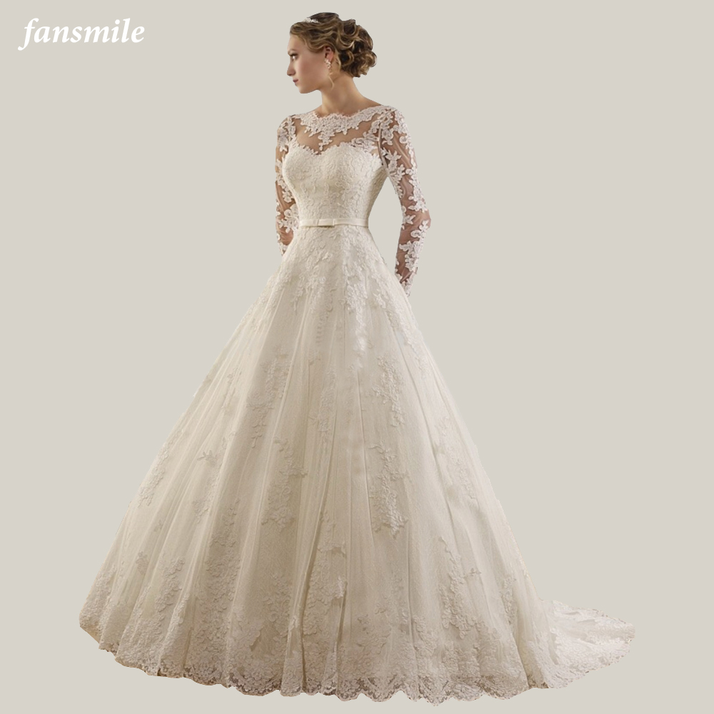 Fansmile Long Sleeve Vestido De Noiva Lace Gowns Wedding Dress 2020 Train Custom-made Plus Size Bridal Tulle Mariage FSM-603T