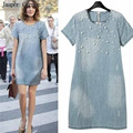 2017 Summer style Loose Short Sleeve Women Denim Jeans Dress O Neck Washed Beaded Elegant Evening Party Lady Dresses 34z