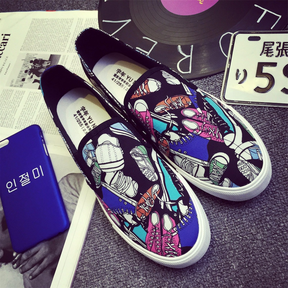Graffiti Shoes New Summer Breathable Slip-On Canvas Mens Flat Casual Shoes Men's Shoes Size:39-44 YC-74