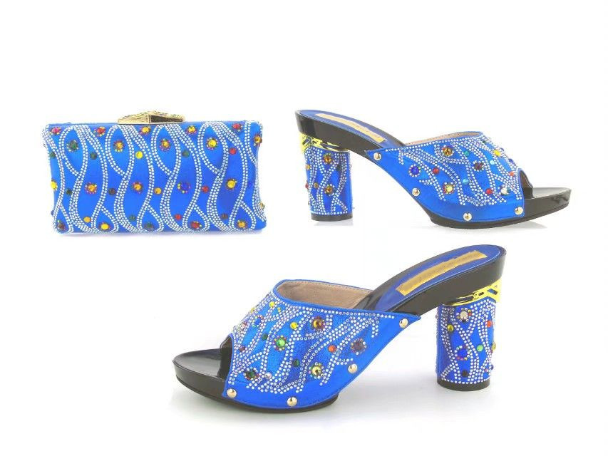 High quality blue women round heel shoes match handbag set with rhinestone decoration african pumps and bag for dress TYS17-91High quality blue women round heel shoes match handbag set with rhinestone decoration african pumps and bag for dress TYS17-91