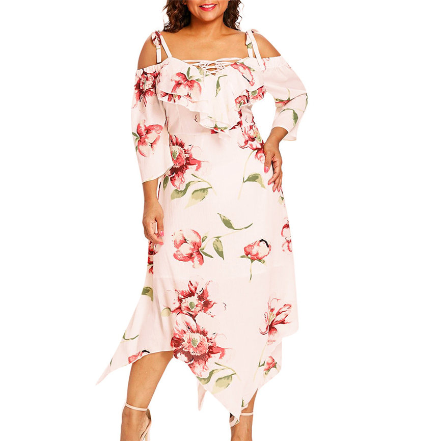 US $9.27 28% OFF|Spring Summer Women Dress Fashion Women Off Shoulder Plus  Size Lace Up Maxi Flowing Floral Print Plus Size Dress Women M14-in Dresses  ...