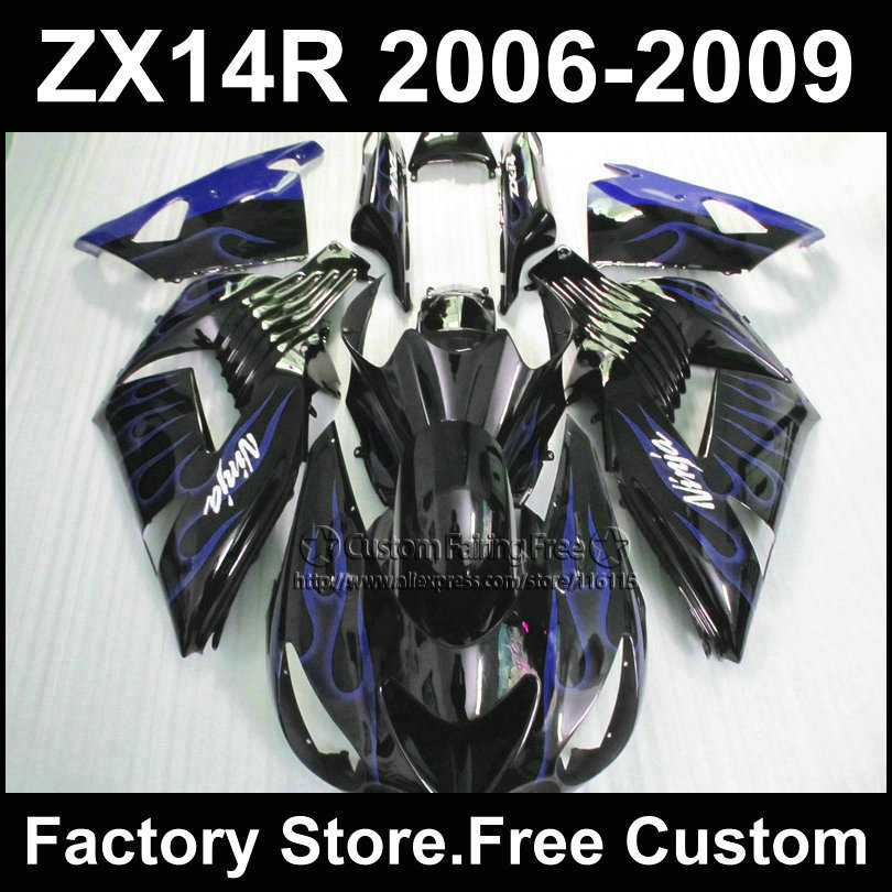 ABS Injection fairing kits for Kawasaki 2006 2007ZX 14R 2008 2009  Ninja ZX14R 06-09 blue flame in black motorcycle fairings set aftermarket free shipping motorcycle parts for motorcycle 2006 2007 2008 2009 kawasaki zx14 zx14r zx 14r axle caps covers chrome