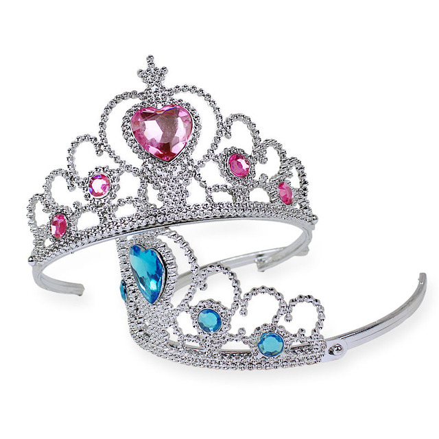 Girls 2 piece/Set Princess Tiara Elsa Accessories Children Diamond Crowns + Elsa Magic Wands girl Christmas Party Gift festival