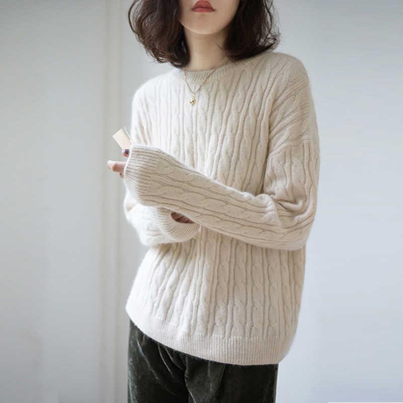 Cashmere Áo len nữ Đầu Cổ Tròn Ngắn rời làm dày xoắn màu áo len dệt kim nữ thu đông áo thun chui đầu