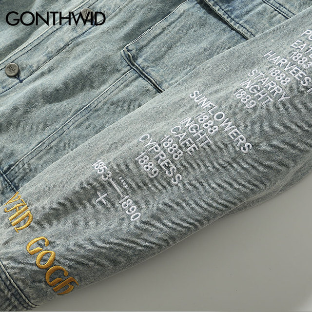 GONTHWID Van Gogh Painting Patchwork Embroidery Denim Jackets Hip Hop Casual Loose Jean Jackets Streetwear Fashion Outwear Coats 6