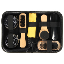 Купить с кэшбэком Hot sell Shoe Shine Care Kit Black & Neutral Polish Brush Set for Boots Shoes Sneakers