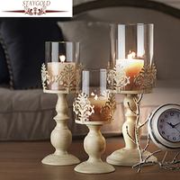 Romantic Wedding Decoration Candle Holders White Candle Holders Tall Glass Candlesticks Metal Crafts Vintage Home Decor