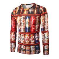 FJUN Hip Hop T Shirt Men 3D Stacked Beer Bottles Cans Funny Tee Shirt Long Sleeve